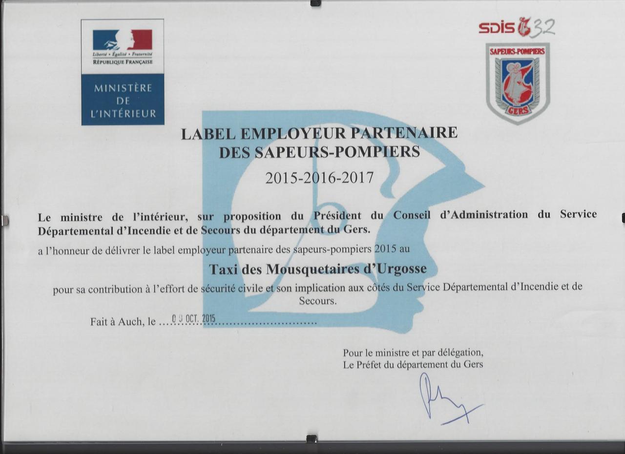 label employeur partenaire des sapeurs-pompiers